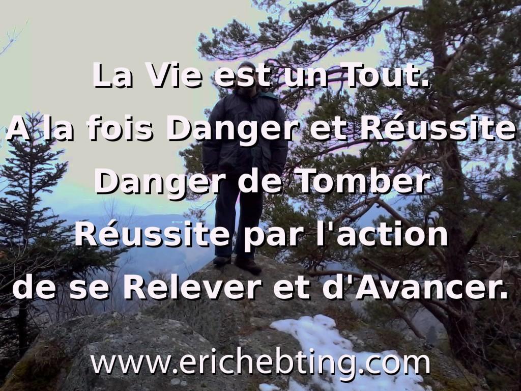 La Vie est un Tout. A la fois Danger et Réussite. Danger de Tomber. Réussite par l'action de se Relever et d'Avancer.