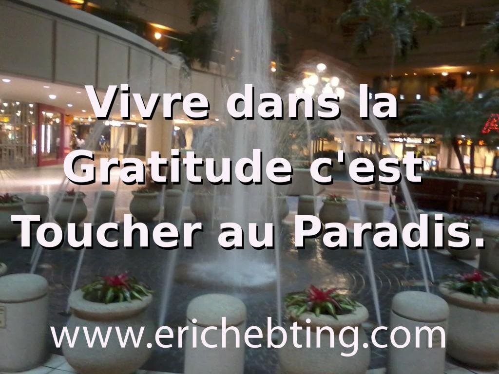Vivre dans la Gratitude c'est Toucher au Paradis.