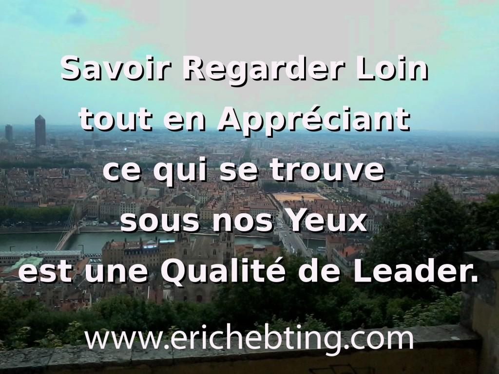 Savoir Regarder Loin tout en Appréciant ce qui se trouve sous nos Yeux est une Qualité de Leader.